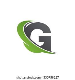 G letter swoosh green logo