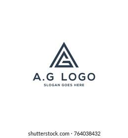 A G logo concept, initial AG vector illustration
