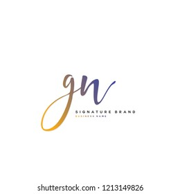 G N GN Initial letter handwriting and  signature logo concept design