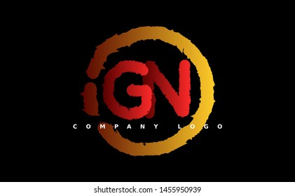 G N Logo. GN Letter Design Vector with red and gold color. grunge style