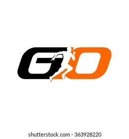 G and O logo vector. run logo vector.