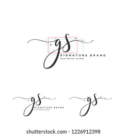 G S GS Initial letter handwriting and  signature logo.