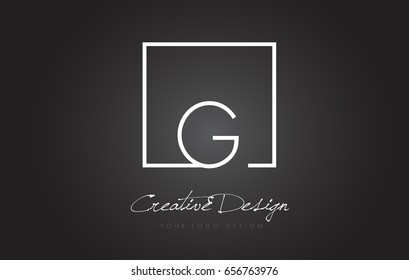 G Square Framed Letter Logo Design Vector with Black and White Colors.
