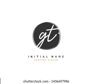 G T GT Beauty vector initial logo, handwriting logo of initial signature, wedding, fashion, jewerly, boutique, floral and botanical with creative template for any company or business.