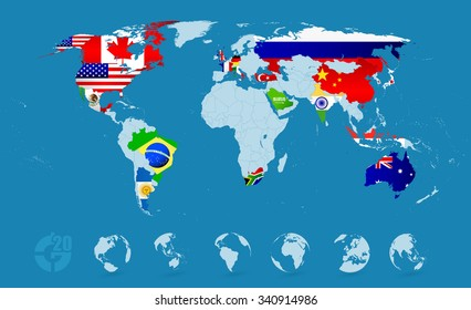 G20 Country Flags On Detailed World map.