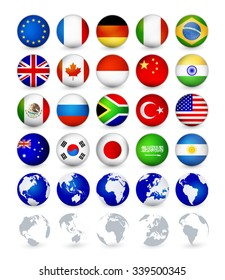 G20 country flags web buttons with globes.Badge Magnet flags vector illustration.