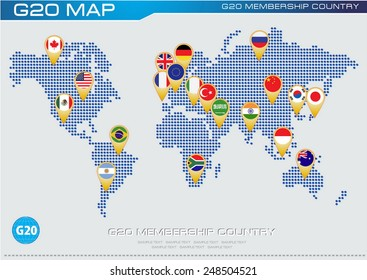 G20 country flags with worldmap or flags of G20 membership (economic G20 country flag) illustration