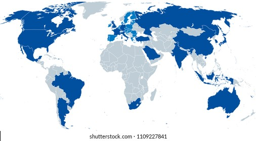 G20, Group of Twenty, map. Forum to discuss the promotion of international financial stability. Twenty individual countries and the not individually represented European Union. Vector.