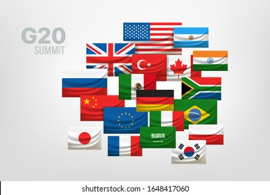 G20 world summit concept. Flags of countries