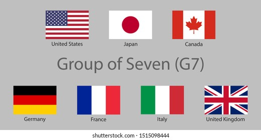 G7 summit flags Isolated icons. Group of Seven vector flags with every country organization member symbol. Great world leaders G7-nations Group of Seven intergovernmental economic organization flags