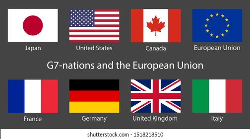 G7 summit flags Isolated icons with European Union. Group of Seven vector flags with every country organization member symbol. Great world leaders G7-nations Group of Seven economic organization flags
