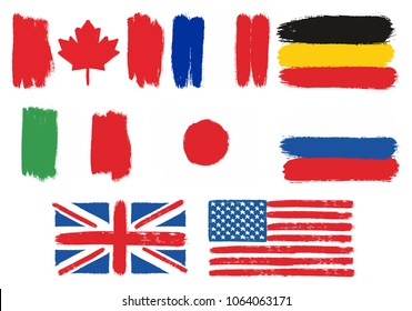 G8 Countries Flags Vector Hand Painted with Rounded Brush