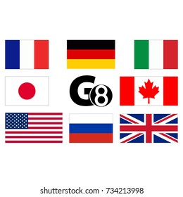 G8, flags of countries. Abstract concept. Flat design. Vector illustration on white background.