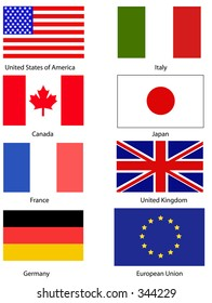 G8 flags United States France Canada Italy Japan Germany United Kingdom and the European Union