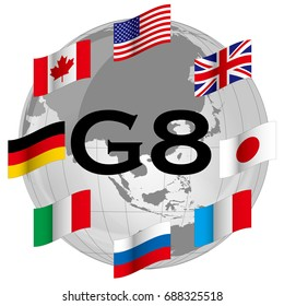 G8, national flag of participating countries at developed country summit meeting, image of developed country summit meeting
