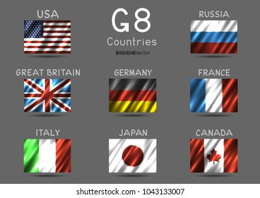 G8 USA Canada France Germany Italy Japan Russia Great Britain rectangular flag icon set on gray background. Great 8 country banner backdrop. Easy to edit wave light shadow
