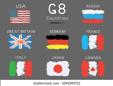 G8 USA Canada France Germany Italy Japan Russia Great Britain hand drawing flag icon set on gray background. Great 8 country banner backdrop