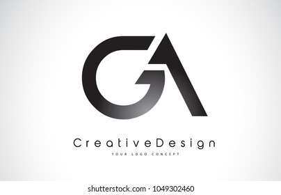 GA G A Letter Logo Design in Black Colors. Creative Modern Letters Vector Icon Logo Illustration.