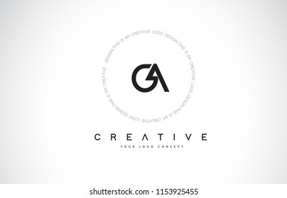 GA G A Logo Design with Black and White Creative Icon Text Letter Vector.