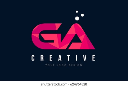 GA G A Purple Letter Logo Design with Low Poly Pink Triangles Concept