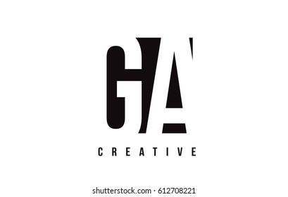 GA G A White Letter Logo Design with Black Square Vector Illustration Template.