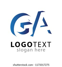GA initial letter with negative space logo icon vector template