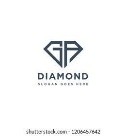 GA Initial Letters Logo Design with Diamond Shape for Jewelry Company Store