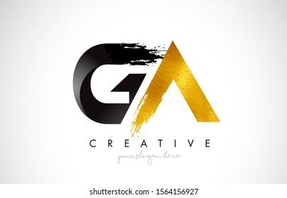 GA Letter Design with Black Golden Brush Stroke and Modern Look Vector Illustration.
