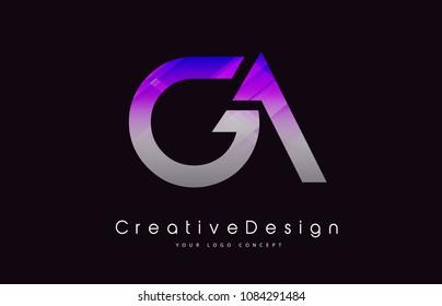 GA Letter Logo Design in Purple Texture Colors. Creative Modern Letters Vector Icon Logo Illustration.