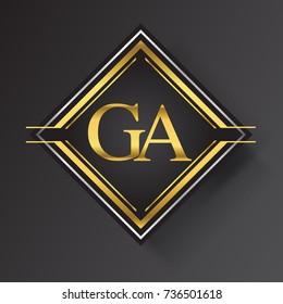 GA Letter logo in a square shape gold and silver colored geometric ornaments.