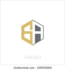GA Logo Initial Monogram Negative Space Design Template With Gold and Grey Color - Vector EPS 10