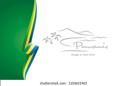 Gabon abstract flag brochure cover poster background vector