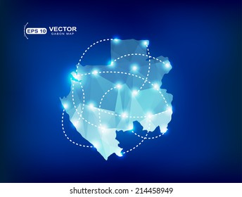 Gabon country map polygonal with spot lights places