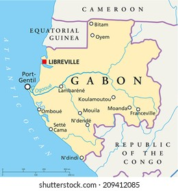 Gabon Political Map with capital Libreville, national borders, most important cities, rivers and lake. Vector illustration with English labeling and scaling.