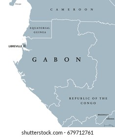 Gabon political map with capital Libreville. Gabonese Republic, a sovereign state located on the west coast of Central Africa. Gray illustration isolated on white background. English labeling. Vector.
