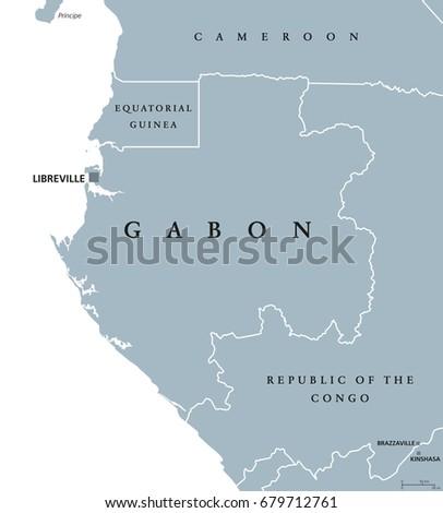 Gabon Political Map Capital Libreville Gabonese Stock Vector