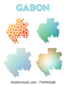 Gabon polygonal map. Mosaic style maps collection. Bright abstract tessellation, geometric, low poly, modern design. Gabon polygonal maps for infographics or presentation.
