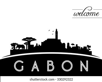 Gabon skyline silhouette, black and white design, vector illustration