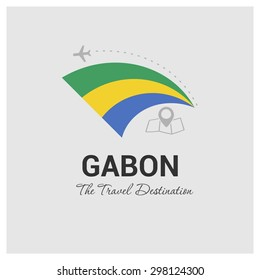 Gabon The Travel Destination logo - Vector travel company logo design - Country Flag Travel and Tourism concept t shirt graphics - vector illustration