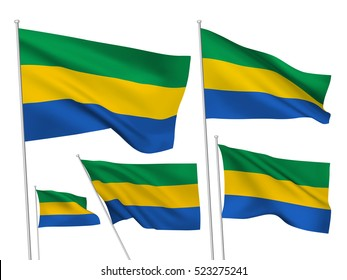 Gabon vector flags set. 5 wavy 3D cloth pennants fluttering on the wind. EPS 8 created using gradient meshes isolated on white background. Five fabric flagstaff design elements from world collection
