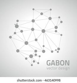 Gabon vector grey dot triangle map of Africa