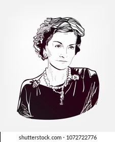 Gabrielle Chanel Coco vector sketch portrait illustration