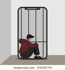 Gadget addiction concept. Lonely guy imprisoned in cage inside of mobile phone, vector illustration in flat style