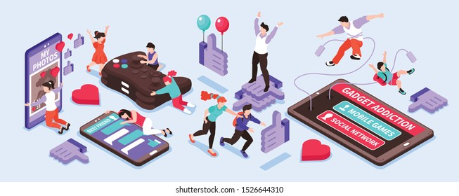 Gadget addiction isometric narrow set with social network and games symbols isolated vector illustration