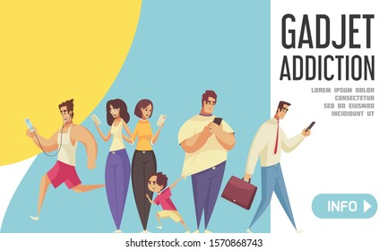 Gadget addiction landing page with people looking in their smartphones walking with kids going to office running in park vector illustration