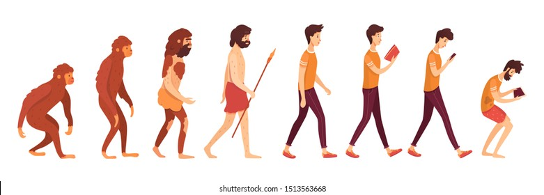 Gadget addiction problem flat vector illustration. Primates, primitive and modern men cartoon characters. Humanity evolution and degradation process. Human evolvement stages, progress and regress