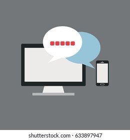 Gadget With Chat Icon Vector Illustration