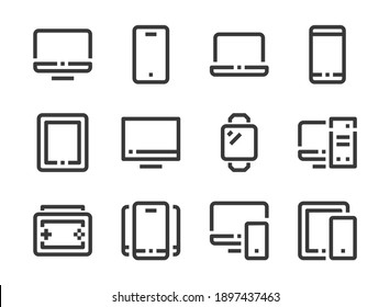 Gadget, Computer and elctronic device vector line icons. PC, laptop, mobile phone and tablet outline icon set.