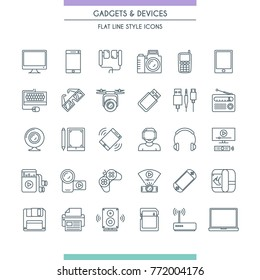 Gadget and devices thin line icon set. Electronic Equipmen. Vector illustration