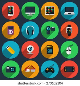 Gadget flat icons. Joystick and memory card, device technology, camera and smartphone, vector illustration